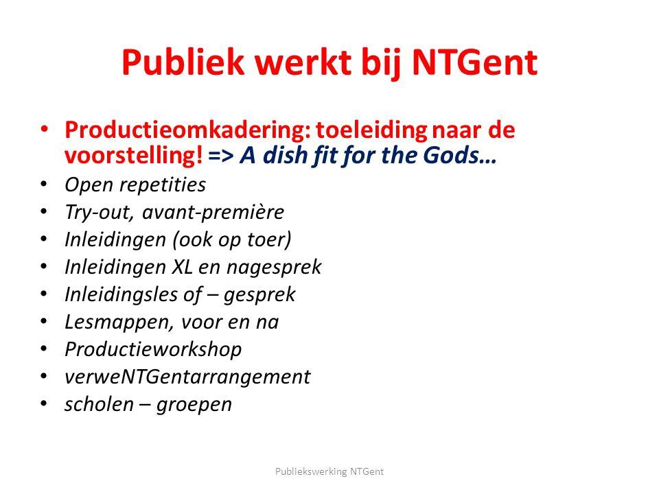 Publiek werkt bij NTGent Highlights : – Open repetities: Gratis Exclusief Evolutie – Productieworkshop: Vanuit repetitieproces – VerweNTGentarrangement: Hoek af….
