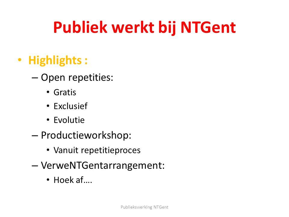 Publiek werkt bij NTGent Highlights : – Open repetities: Gratis Exclusief Evolutie – Productieworkshop: Vanuit repetitieproces – VerweNTGentarrangemen