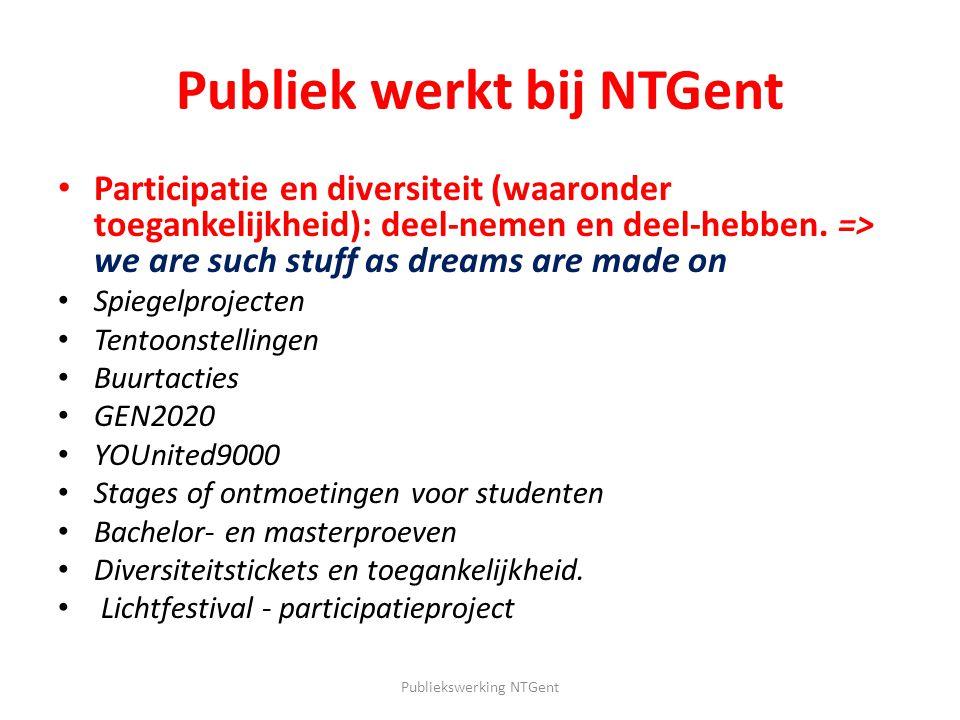 Publiek werkt bij NTGent Participatie en diversiteit (waaronder toegankelijkheid): deel-nemen en deel-hebben. => we are such stuff as dreams are made