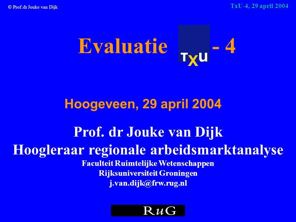 © Prof.dr Jouke van Dijk TxU-4, 29 april 2004 Evaluatie - 4 Hoogeveen, 29 april 2004 Prof.