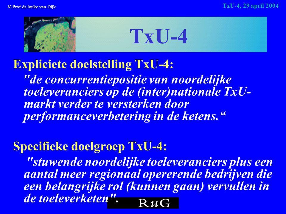 © Prof.dr Jouke van Dijk TxU-4, 29 april 2004 TxU-4 Expliciete doelstelling TxU-4: de concurrentiepositie van noordelijke toeleveranciers op de (inter)nationale TxU- markt verder te versterken door performanceverbetering in de ketens. Specifieke doelgroep TxU-4: stuwende noordelijke toeleveranciers plus een aantal meer regionaal opererende bedrijven die een belangrijke rol (kunnen gaan) vervullen in de toeleverketen .