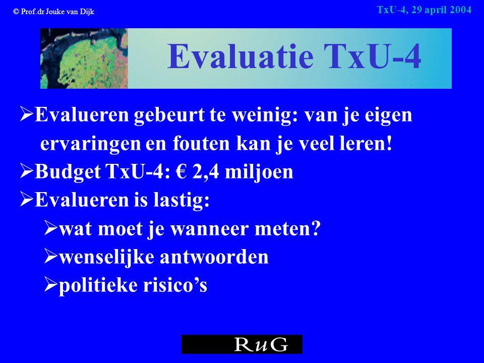© Prof.dr Jouke van Dijk TxU-4, 29 april 2004 Evaluatie TxU-4  Evalueren gebeurt te weinig: van je eigen ervaringen en fouten kan je veel leren.
