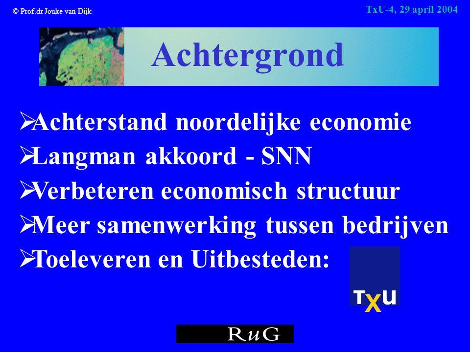 © Prof.dr Jouke van Dijk TxU-4, 29 april 2004 Achtergrond  Achterstand noordelijke economie  Langman akkoord - SNN  Verbeteren economisch structuur  Meer samenwerking tussen bedrijven  Toeleveren en Uitbesteden: