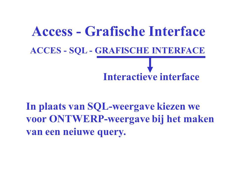 Access - Grafische Interface ACCES - SQL - GRAFISCHE INTERFACE Interactieve interface In plaats van SQL-weergave kiezen we voor ONTWERP-weergave bij het maken van een neiuwe query.