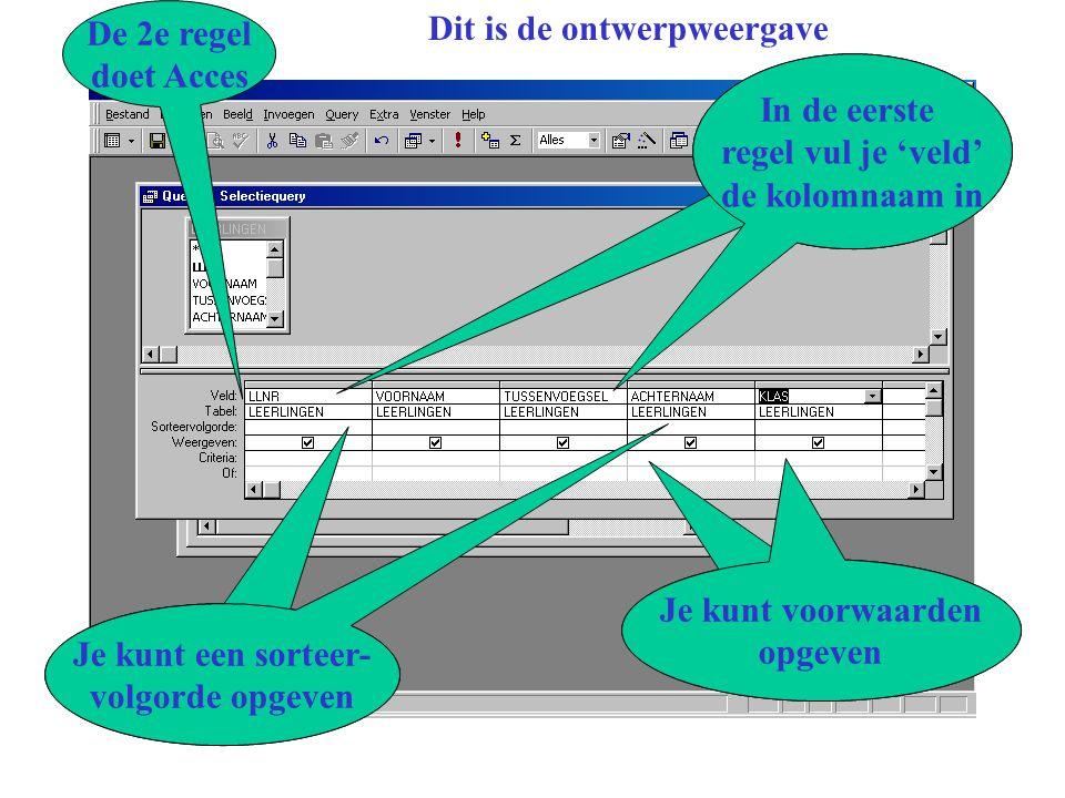 Access - Grafische Interface Dit is de ontwerpweergave In de eerste regel vul je 'veld' de kolomnaam in De 2e regel doet Acces Je kunt een sorteer- volgorde opgeven Je kunt voorwaarden opgeven