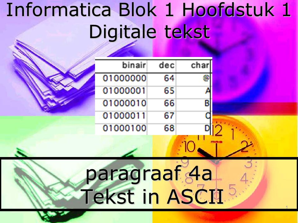 1 paragraaf 4a Tekst in ASCII Informatica Blok 1 Hoofdstuk 1 Digitale tekst