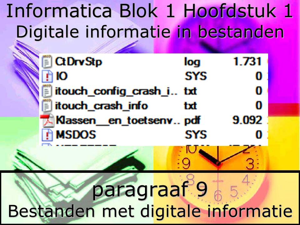 2 §9 Bestanden met digitale informatie Op de harde schijf of op een cd staan alleen maar bits.