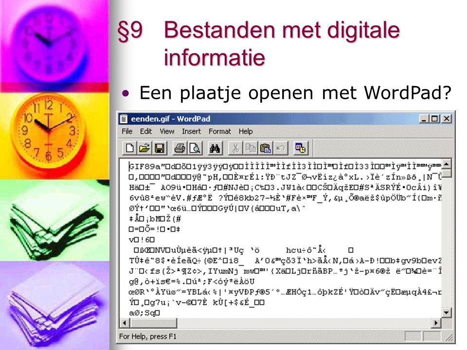 7 §9 Bestanden met digitale informatie De bits in een bestand bekijken me FileView M-schijf – informatica – software – Fileview Start FileView