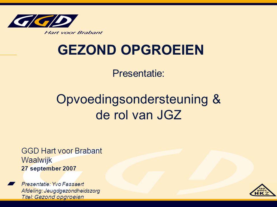 Presentatie: Yvo Fassaert Afdeling: Jeugdgezondheidszorg Titel: Gezond opgroeien Presentatie: Opvoedingsondersteuning & de rol van JGZ GGD Hart voor B