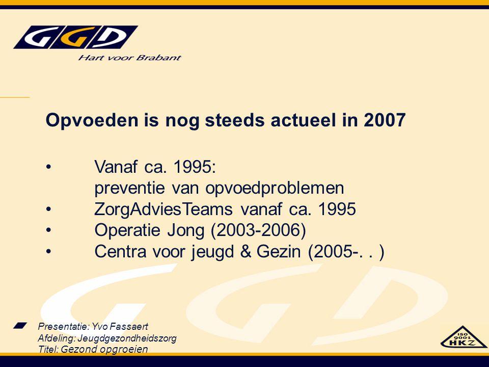 Presentatie: Yvo Fassaert Afdeling: Jeugdgezondheidszorg Titel: Gezond opgroeien Opvoeden is nog steeds actueel in 2007 Vanaf ca. 1995: preventie van