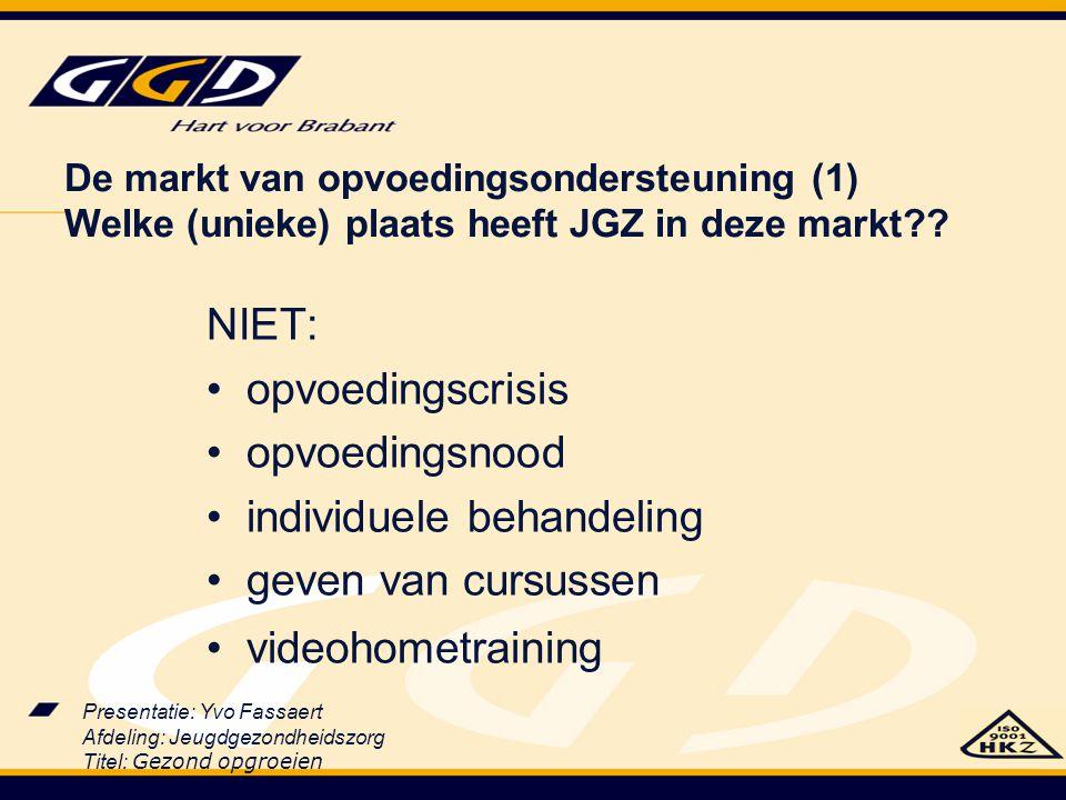 Presentatie: Yvo Fassaert Afdeling: Jeugdgezondheidszorg Titel: Gezond opgroeien De markt van opvoedingsondersteuning (1) Welke (unieke) plaats heeft
