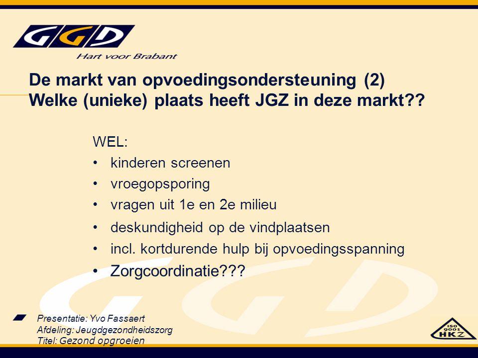Presentatie: Yvo Fassaert Afdeling: Jeugdgezondheidszorg Titel: Gezond opgroeien WEL: kinderen screenen vroegopsporing vragen uit 1e en 2e milieu desk