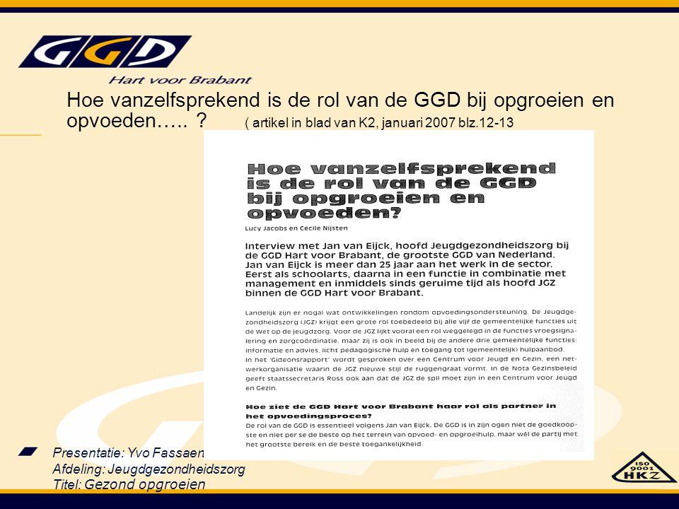 Presentatie: Yvo Fassaert Afdeling: Jeugdgezondheidszorg Titel: Gezond opgroeien Hoe vanzelfsprekend is de rol van de GGD bij opgroeien en opvoeden…..