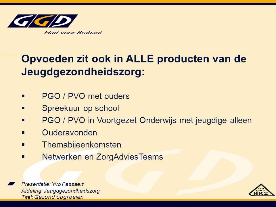 Presentatie: Yvo Fassaert Afdeling: Jeugdgezondheidszorg Titel: Gezond opgroeien Opvoeden zit ook in ALLE producten van de Jeugdgezondheidszorg:  PGO