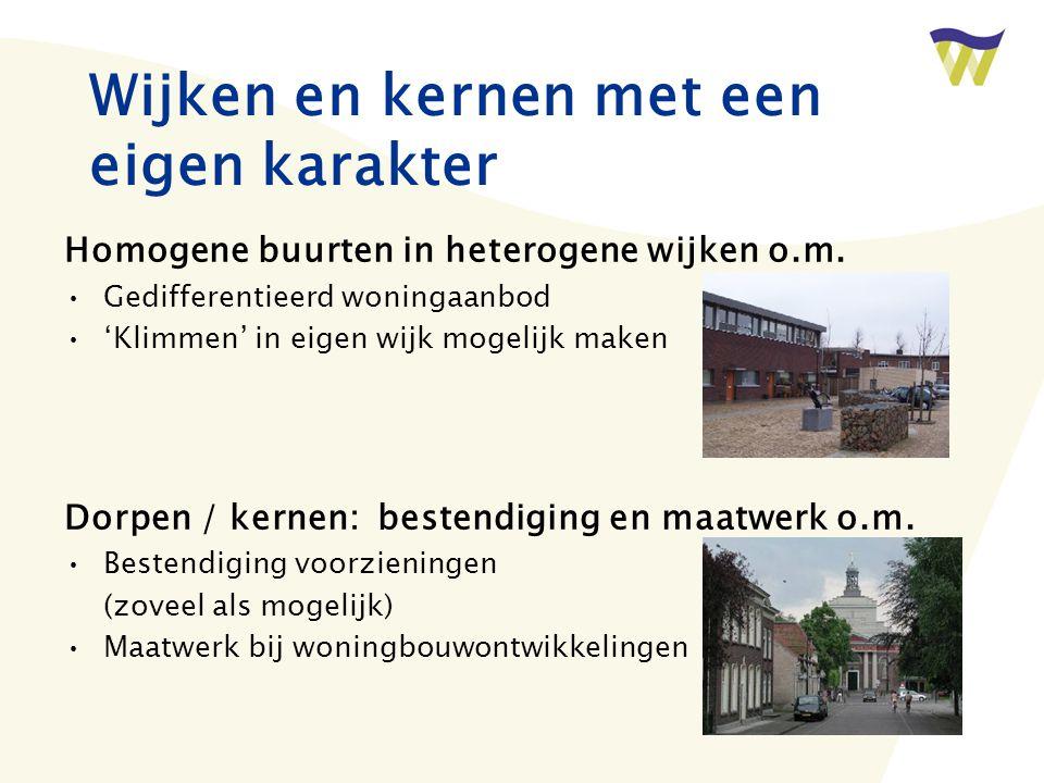 Wijken en kernen met een eigen karakter Homogene buurten in heterogene wijken o.m.