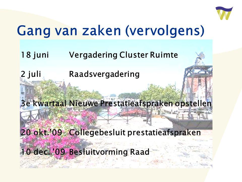 Gang van zaken (vervolgens) 18 juniVergadering Cluster Ruimte 2 juliRaadsvergadering 3e kwartaalNieuwe Prestatieafspraken opstellen 20 okt.'09Collegebesluit prestatieafspraken 10 dec.