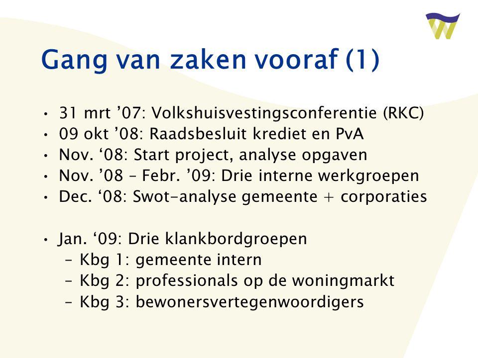 Gang van zaken vooraf (1) 31 mrt '07: Volkshuisvestingsconferentie (RKC) 09 okt '08: Raadsbesluit krediet en PvA Nov.