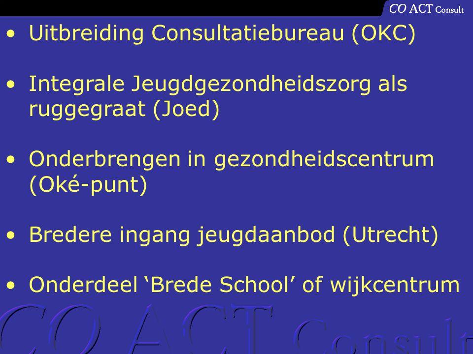 Uitbreiding Consultatiebureau (OKC) Integrale Jeugdgezondheidszorg als ruggegraat (Joed) Onderbrengen in gezondheidscentrum (Oké-punt) Bredere ingang jeugdaanbod (Utrecht) Onderdeel 'Brede School' of wijkcentrum