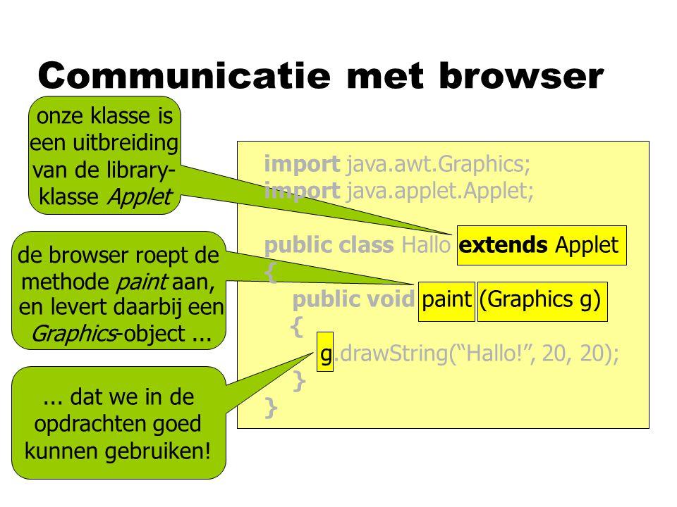 Communicatie met browser onze klasse is een uitbreiding van de library- klasse Applet...
