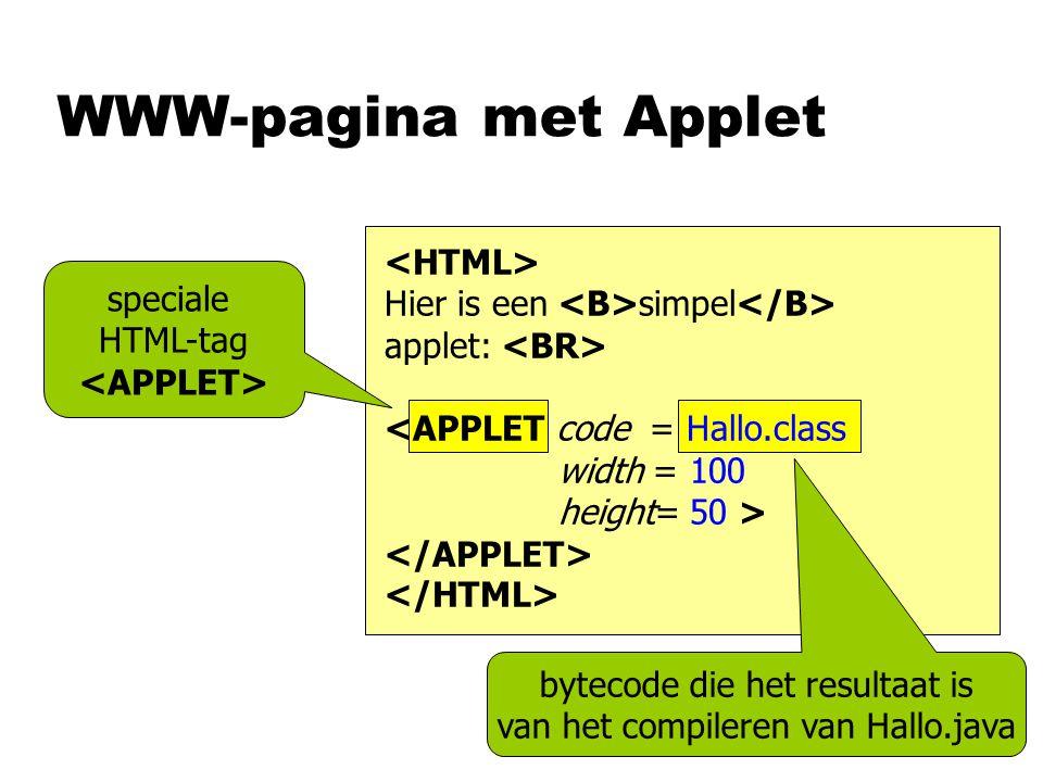WWW-pagina met Applet speciale HTML-tag bytecode die het resultaat is van het compileren van Hallo.java Hier is een simpel applet:
