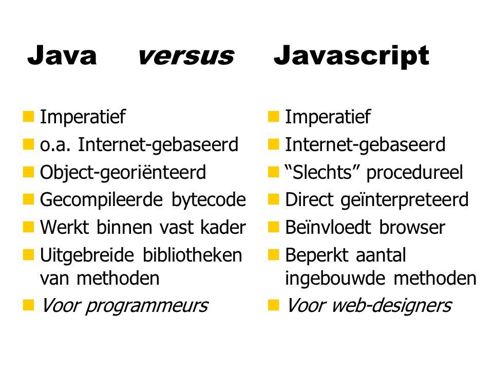 Java versusJavascript nImperatief no.a.