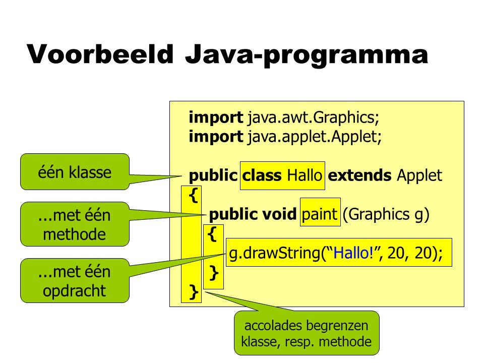Voorbeeld Java-programma één klasse...met één methode...met één opdracht accolades begrenzen klasse, resp.