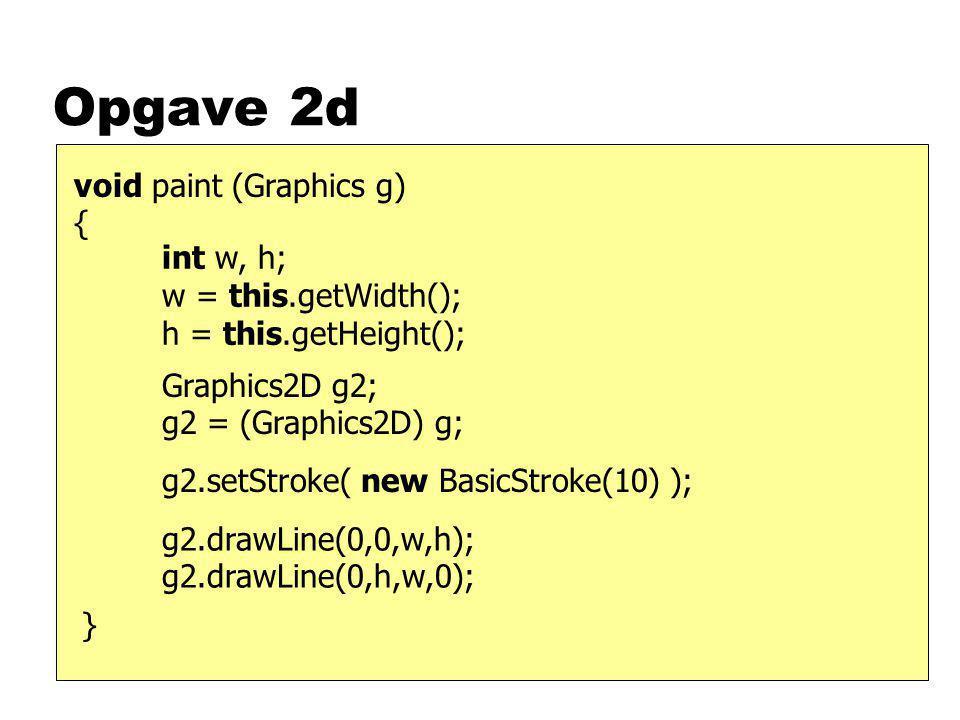 Opgave 2e nVan een abstracte klasse kun je geen nieuwe objecten maken uSommige beloofde methoden ontbreken uSommige methoden hebben geen body nJe kunt er wel een subklasse van maken