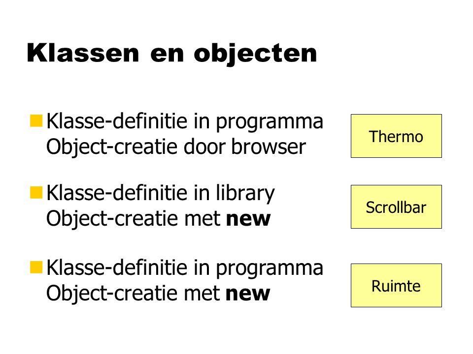 Klassen en objecten nKlasse-definitie in library Object-creatie met new nKlasse-definitie in programma Object-creatie door browser nKlasse-definitie i