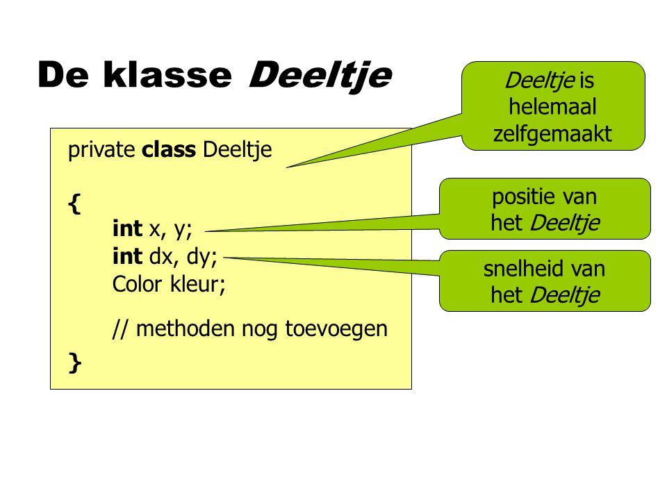 De klasse Deeltje private class Deeltje { } Deeltje is helemaal zelfgemaakt int x, y; // methoden nog toevoegen positie van het Deeltje int dx, dy; Co