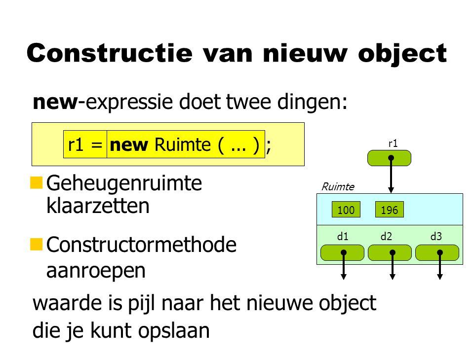 Constructie van nieuw object nGeheugenruimte klaarzetten nConstructormethode aanroepen new-expressie doet twee dingen: waarde is pijl naar het nieuwe
