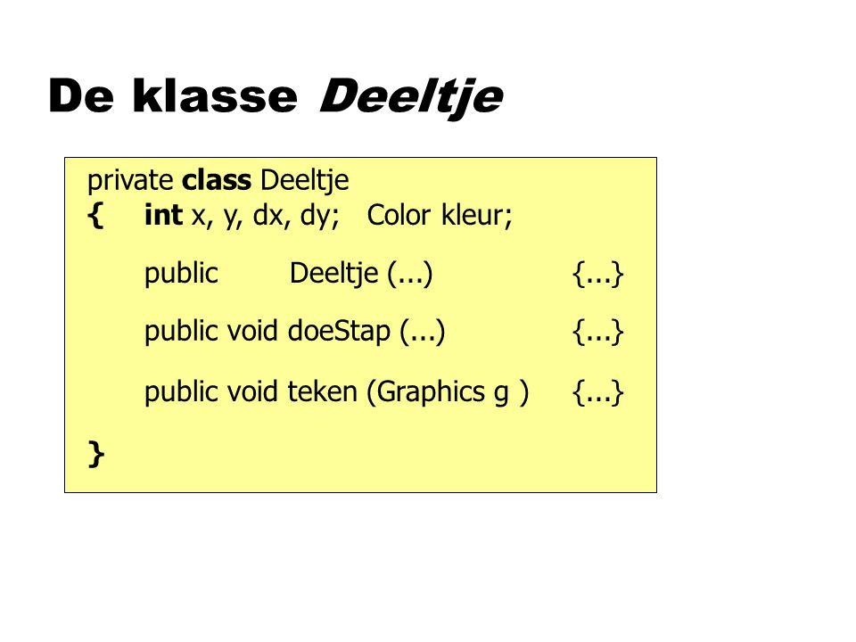 private class Deeltje { } De klasse Deeltje int x, y, dx, dy; Color kleur; public Deeltje (...) {...} public void doeStap (...) {...} public void teke