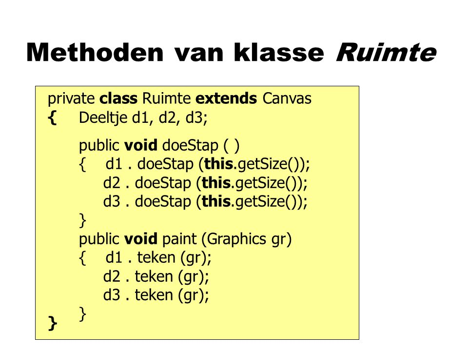 private class Ruimte extends Canvas { } Methoden van klasse Ruimte Deeltje d1, d2, d3; public void doeStap ( ) { d1. doeStap (this.getSize()); d2. doe