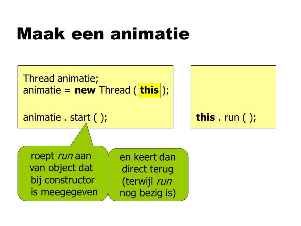 Maak een animatie animatie. start ( );this. run ( ); roept run aan van object dat bij constructor is meegegeven Thread animatie; animatie = new Thread