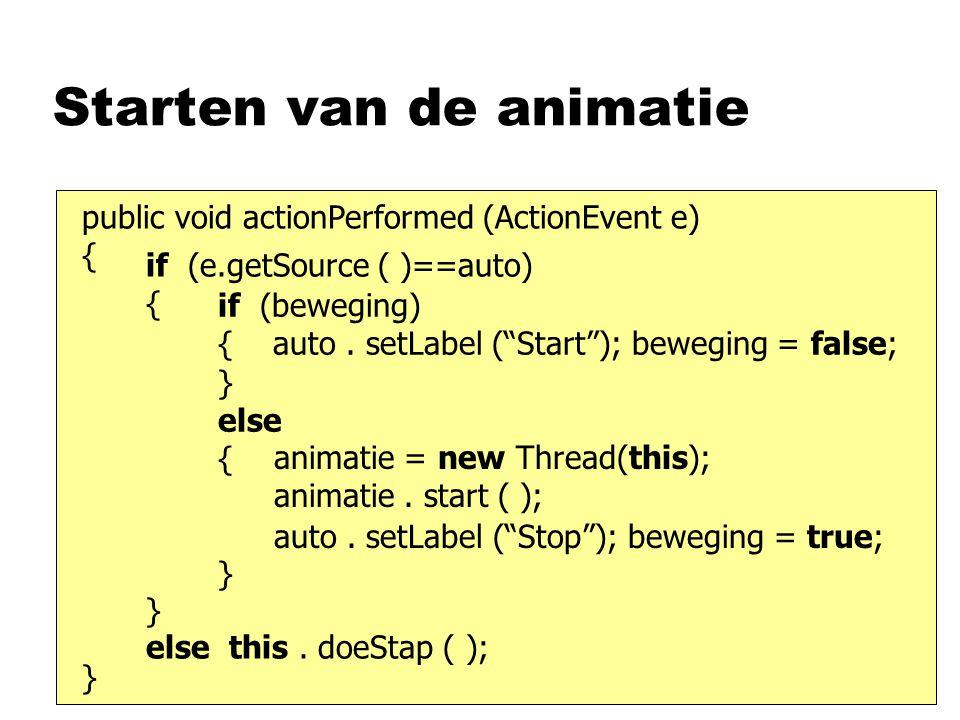 """if (beweging) { auto. setLabel (""""Start""""); beweging = false; } else { } Starten van de animatie public void actionPerformed (ActionEvent e) { } if (e.g"""