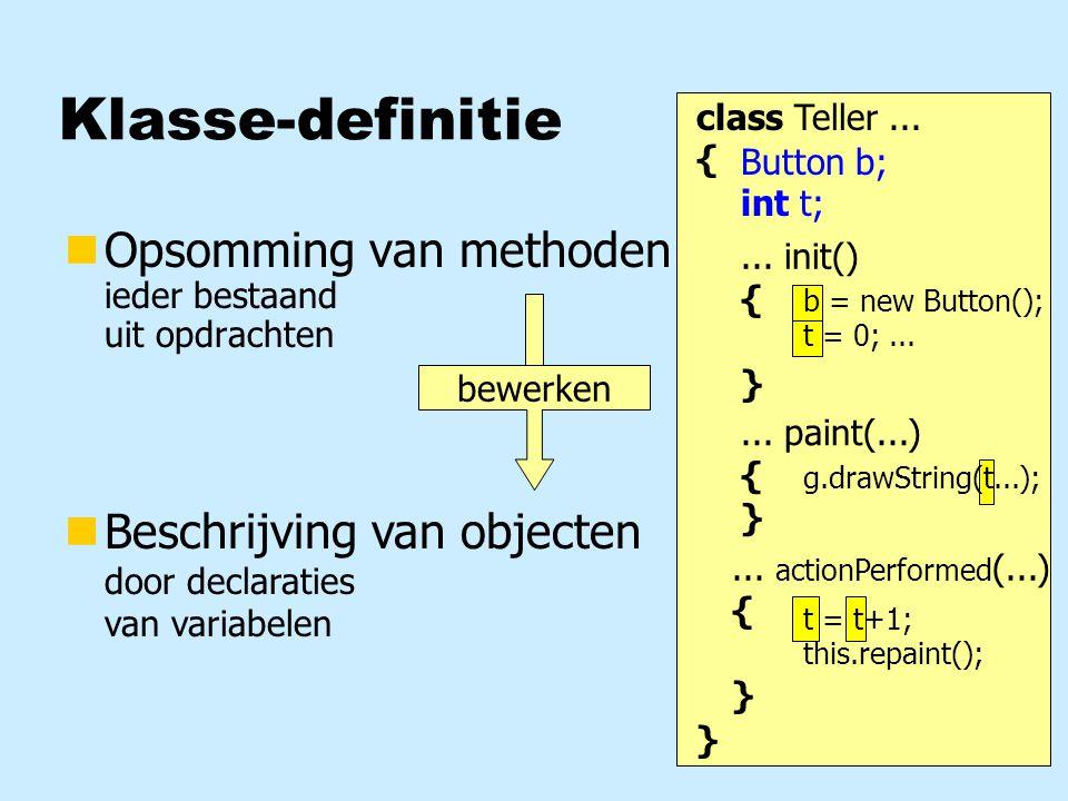 private class Ruimte extends Canvas { } Methoden van klasse Ruimte Deeltje d1, d2, d3; public Ruimte (int breed, int hoog) { this.setSize (breed, hoog); this.setBackground (Color.gray); d1 = new Deeltje(Color.RED, 30, 40, 10, 10); d2 = new Deeltje(Color.GREEN, 100, 80, 5, -10); d3 = new Deeltje(Color.BLUE, 200, 60, 8, 2); }