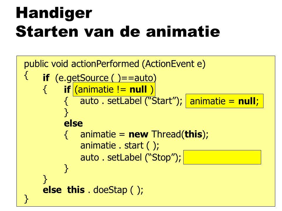 """if (beweging) { auto. setLabel (""""Start""""); beweging = false; } else { } Handiger Starten van de animatie public void actionPerformed (ActionEvent e) {"""