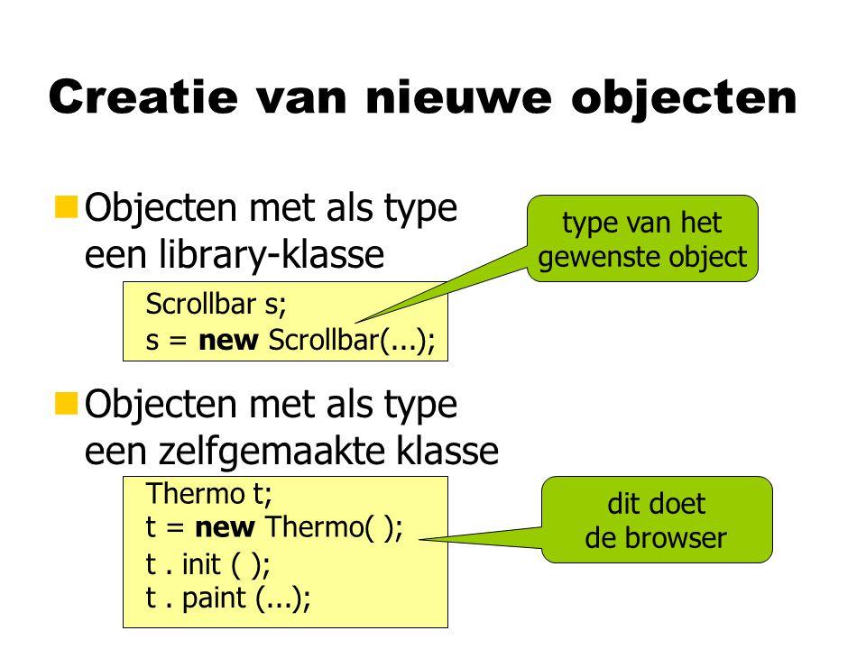 Creatie van objecten nOpbouw van object is gespecificeerd in de klasse meter minmax Thermo browser's current applet geërfd zelf gede- clareerd class Thermo { } Scrollbar meter; int min, max; // methoden...