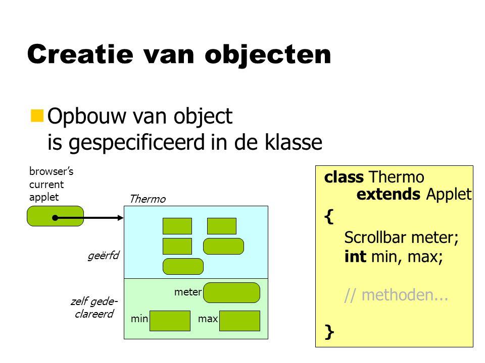 Creatie van objecten nOpbouw van object is gespecificeerd in de klasse meter minmax Thermo browser's current applet geërfd zelf gede- clareerd class T