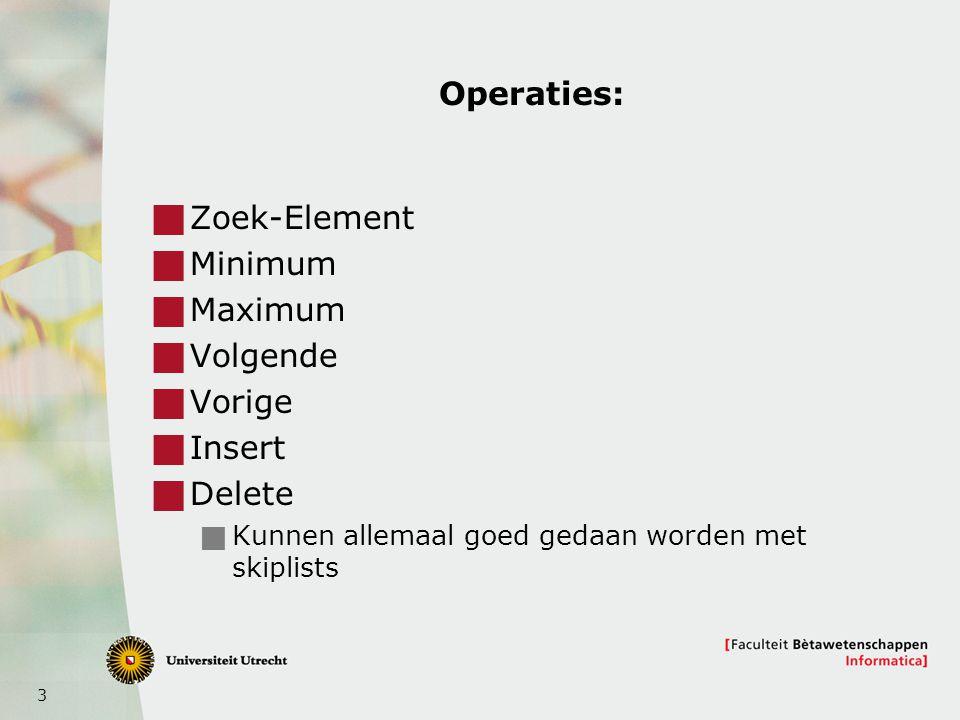 3 Operaties:  Zoek-Element  Minimum  Maximum  Volgende  Vorige  Insert  Delete  Kunnen allemaal goed gedaan worden met skiplists