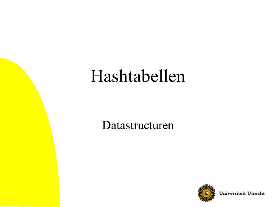 Een aanname voor de analyse: Simple Uniform Hashing Simple uniform hashing aanname: elk element heeft kans 1/m voor elk van de slots, onafhankelijk van de andere elementen –Is in feite een versimpeling van de werkelijkheid, maar helpt wel om een redelijk inzicht te krijgen 12