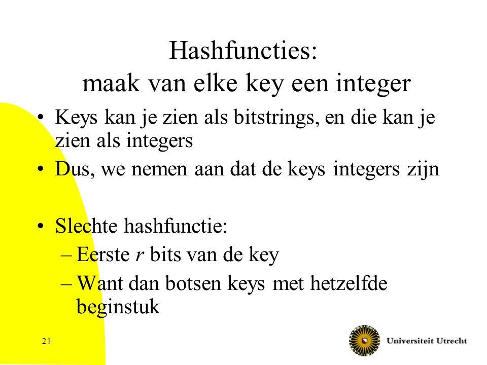 21 Hashfuncties: maak van elke key een integer Keys kan je zien als bitstrings, en die kan je zien als integers Dus, we nemen aan dat de keys integers zijn Slechte hashfunctie: –Eerste r bits van de key –Want dan botsen keys met hetzelfde beginstuk