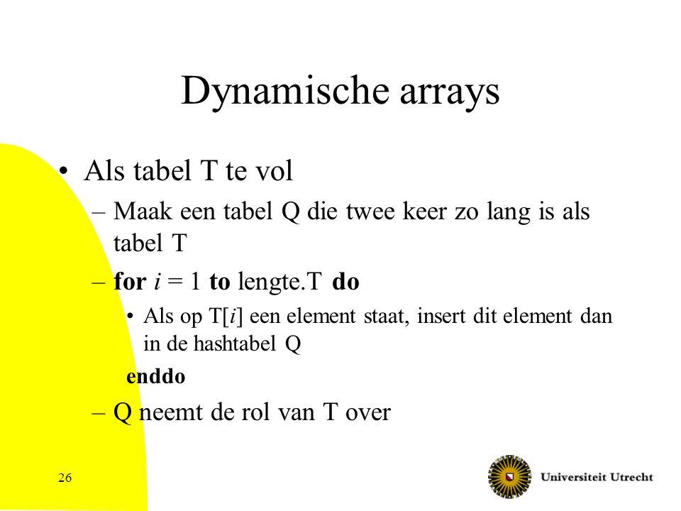 Dynamische arrays Als tabel T te vol –Maak een tabel Q die twee keer zo lang is als tabel T –for i = 1 to lengte.T do Als op T[i] een element staat, insert dit element dan in de hashtabel Q enddo –Q neemt de rol van T over 26