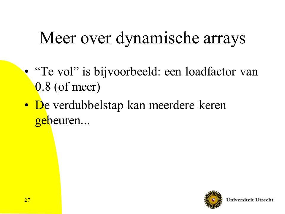 Meer over dynamische arrays Te vol is bijvoorbeeld: een loadfactor van 0.8 (of meer) De verdubbelstap kan meerdere keren gebeuren...