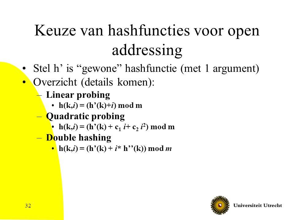 32 Keuze van hashfuncties voor open addressing Stel h' is gewone hashfunctie (met 1 argument) Overzicht (details komen): –Linear probing h(k,i) = (h'(k)+i) mod m –Quadratic probing h(k,i) = (h'(k) + c 1 i+ c 2 i 2 ) mod m –Double hashing h(k,i) = (h'(k) + i* h''(k)) mod m