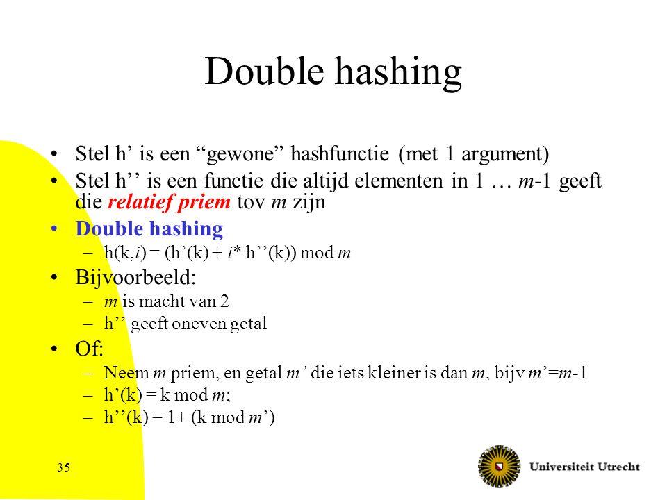35 Double hashing Stel h' is een gewone hashfunctie (met 1 argument) Stel h'' is een functie die altijd elementen in 1 … m-1 geeft die relatief priem tov m zijn Double hashing –h(k,i) = (h'(k) + i* h''(k)) mod m Bijvoorbeeld: –m is macht van 2 –h'' geeft oneven getal Of: –Neem m priem, en getal m' die iets kleiner is dan m, bijv m'=m-1 –h'(k) = k mod m; –h''(k) = 1+ (k mod m')