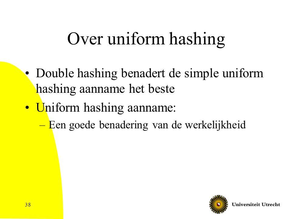 Over uniform hashing Double hashing benadert de simple uniform hashing aanname het beste Uniform hashing aanname: –Een goede benadering van de werkelijkheid 38