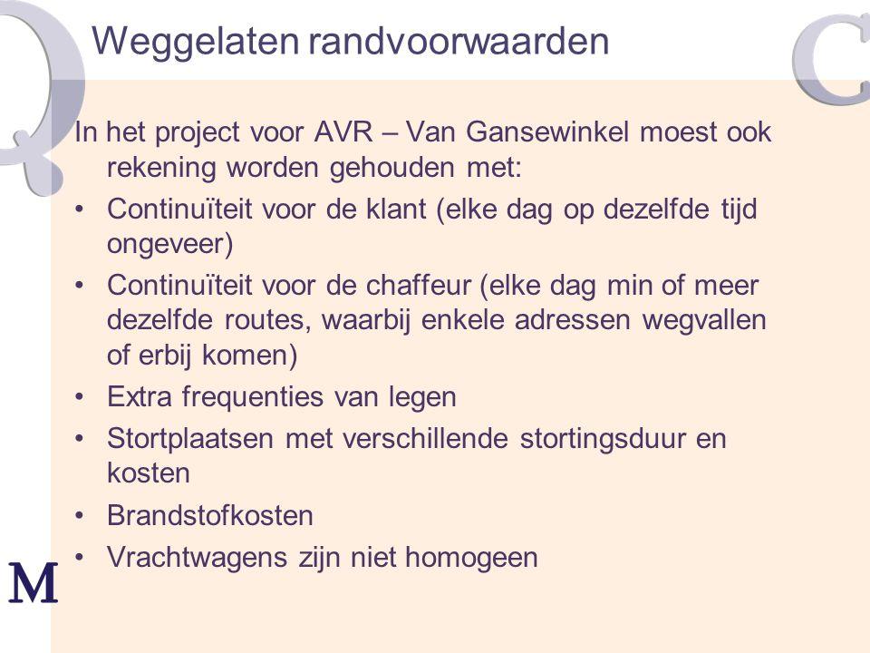 Weggelaten randvoorwaarden In het project voor AVR – Van Gansewinkel moest ook rekening worden gehouden met: Continuïteit voor de klant (elke dag op d