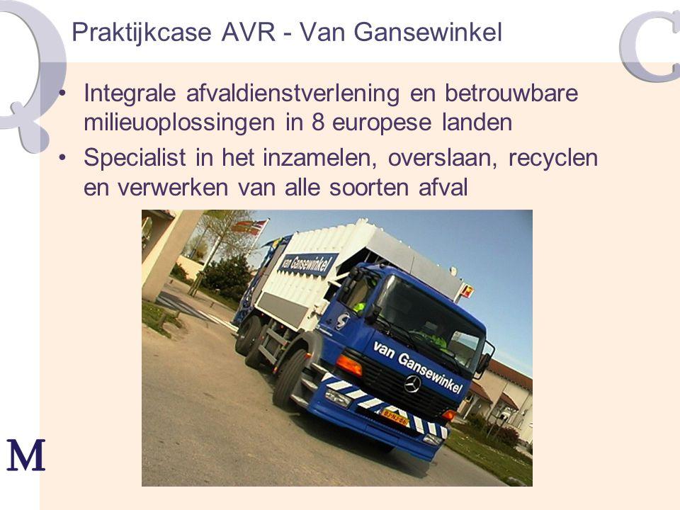 Praktijkcase AVR - Van Gansewinkel Integrale afvaldienstverlening en betrouwbare milieuoplossingen in 8 europese landen Specialist in het inzamelen, o