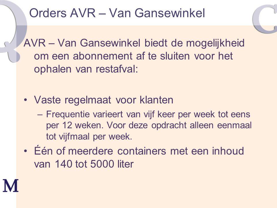 Orders AVR – Van Gansewinkel AVR – Van Gansewinkel biedt de mogelijkheid om een abonnement af te sluiten voor het ophalen van restafval: Vaste regelma