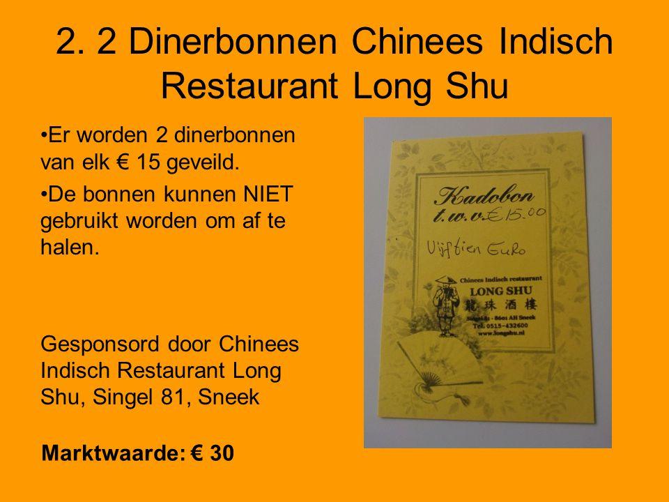 2. 2 Dinerbonnen Chinees Indisch Restaurant Long Shu Er worden 2 dinerbonnen van elk € 15 geveild.